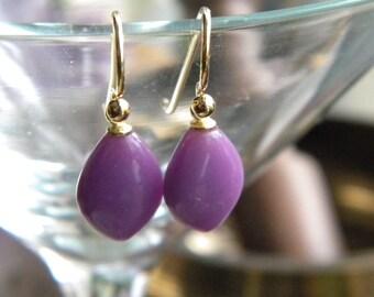 Purple Earrings, Phosphosiderite Marquise drop Earrings, Women's Jewelry, Semi Precious Stone, Vermeil, KarenWolfeCreations