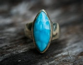 Larimar Ring - Size 8.5 Larimar Ring -  Sterling Silver and Larimar ring - Genuine Larimar - lovely Larimar Ring  - Larimar Jewelry