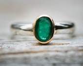 Emerald Ring size 6.5 - 14k gold Sterling Silver - Emerald Ring 6.5 - Engagement Ring Alternative Size 6.5 14k Gold & Sterling Silver - Gold