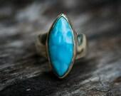 Larimar Ring - Size 8.5 Larimar Ring -  Sterling Silver and Larimar ring - Genuine Larimar - lovely Larimar Ring  - Larimar Jewelry