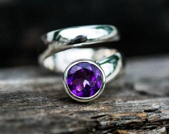 Amethyst Ring size 5.5 thru 7.5 - Sterling Silver Amethyst Ring  - Size 5.5 thru 7.5 Amethyst Ring - Amethyst Rings - February Birthstone