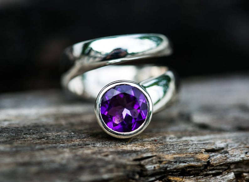 Amethyst Ring size 5.5 thru 7.5  Sterling Silver Amethyst image 0