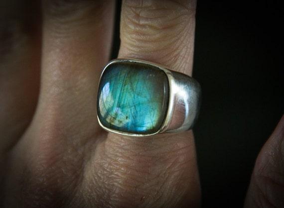size 9 12 Labradorite sterling silver ring