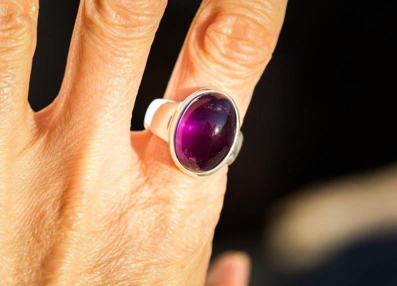 Amethyst Ring size 6-8.5 Purple Amethyst Amethyst Cabochon Sterling Silver Ring Size 6-8.5 Amethyst Ring February Birthstone