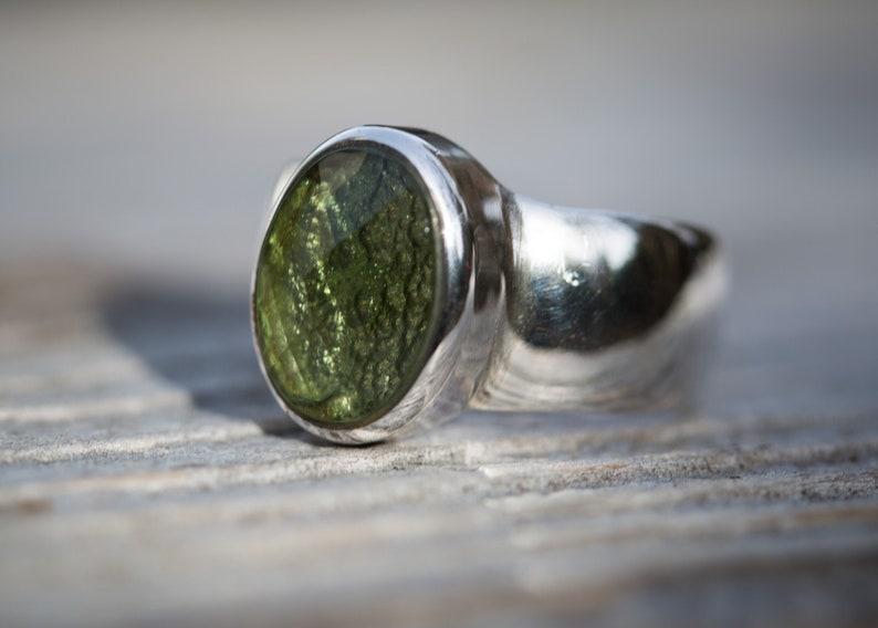 Moldavite Ring size 8 Moldavite Ring 8 Moldavite Ring Size 8 Checkerboard cut Moldavite Half Raw Half Checkerboard Cut Ring size 8