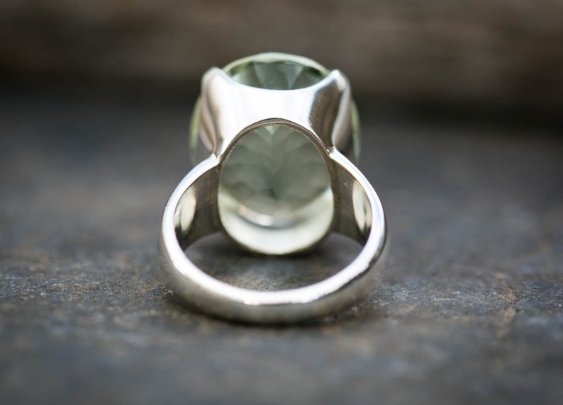 Oval Cut Ring Green Quartz Ring 8 Green Quartz Ring Size 8 Green Amethyst Ring Oval Green Amethyst Ring Prasiolite Ring