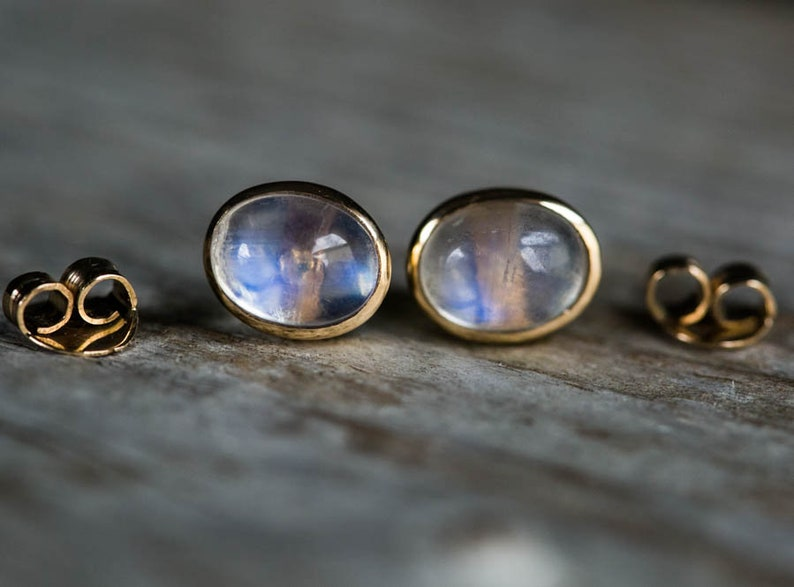 Rainbow Moonstone Studs 14k Gold Moonstone Studs Moonstone Earrings 14k gold Earrings Moonstone Studs Rainbow Moonstone earrings