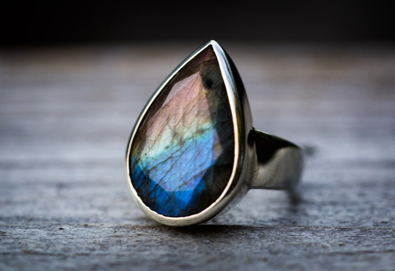 Size 7 Labradorite Ring Multicolor Labradorite Sterling Silver Ring Labradorite Jewelry Rainbow Labradorite Ring 7 Labradorite ring 7