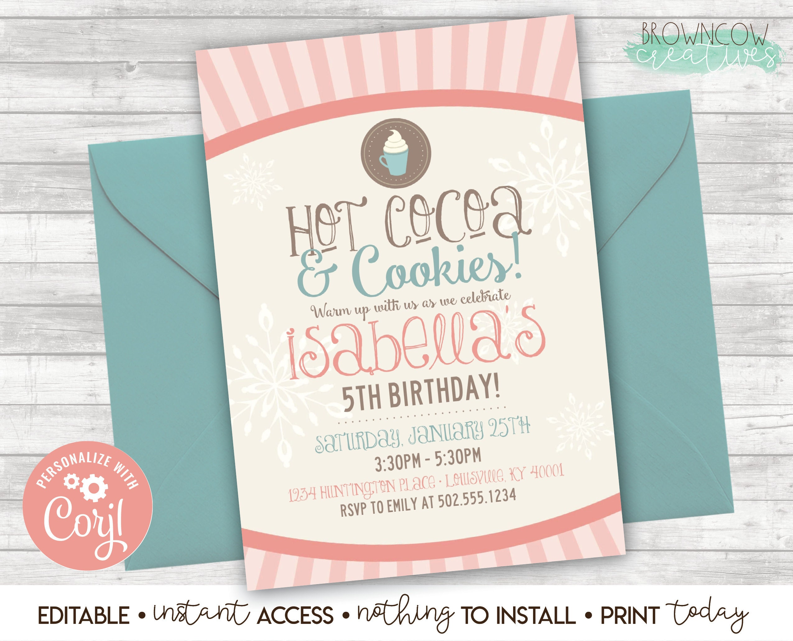 Hot Cocoa Cookies Invitation Winter Birthday Party Instant Etsy