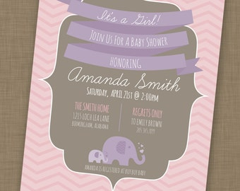 PRINTABLE Chevron Baby Girl Invitation