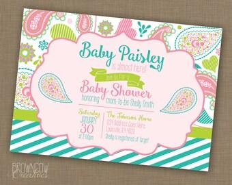 PRINTABLE Baby Girl Baby Shower Invitation // Paisley Baby Shower Invitation