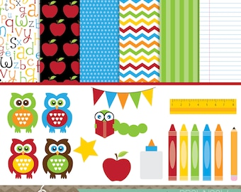 Back to School Clip Art & Digital Papers