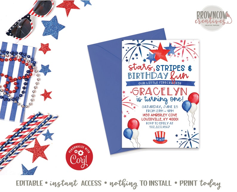 graphic regarding Free Printable Patriotic Invitations referred to as 4th of July Birthday Invitation, Patriotic Birthday, Summertime Birthday Invitation, July 4th, Immediate Arrive at, Printable