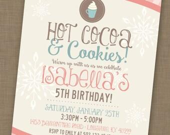 Hot Cocoa Party Invitation Template DIY Printable Hot