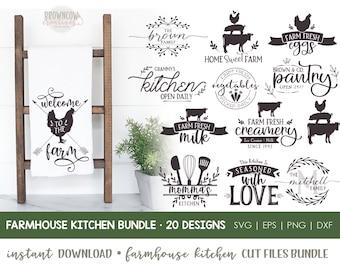 Farmhouse Kitchen Cut Files Bundle, Farmhouse Kitchen SVG Bundle, Farmhouse Family Monogram SVG, Kitchen SVG, Kitchen Cut Files