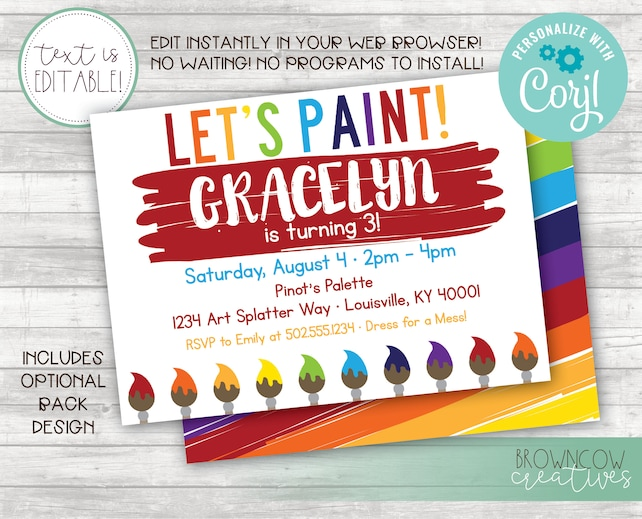 Editable Art Party Invitation, Splatter, Art Invitation, Painting Party Invitation, Art Birthday, Instant Invitation, Printable