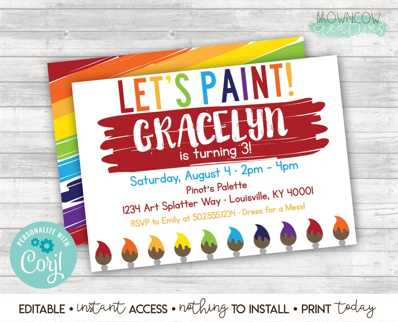 It is an image of Free Printable Paint Party Invitations for blank