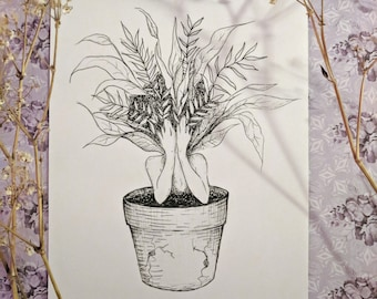 Overgrown - 5x7 Print - Mandrake plant lady witch botanical art *packaged with lavender*
