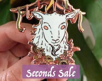Seconds SALE** Beltane Goat - Beltane/Litha Midsummer Enamel Pin *packaged with lavender*