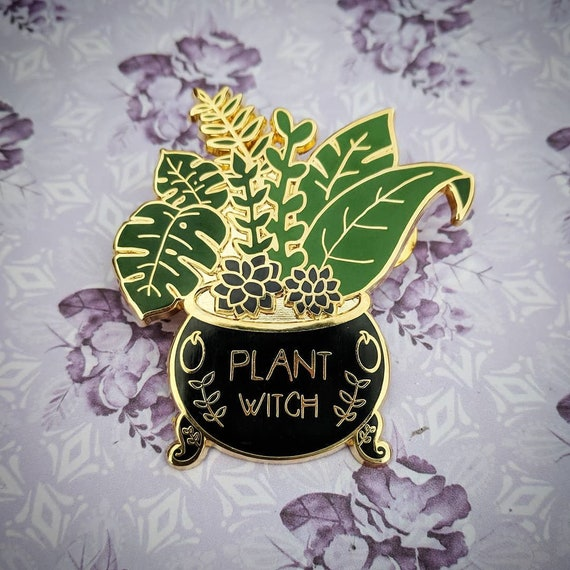 Plant Witch   Cauldron With Succulents And Ferns | Enamel Pin by Etsy