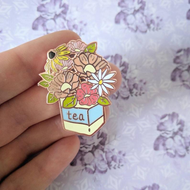 9edcc0f7d0f PRE-ORDER Wildflower Tea flower bouquet hard enamel pin | Etsy
