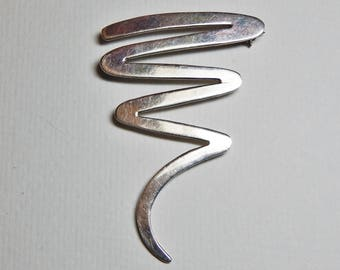 "Vintage Large Taxco 925 Sterling Silver Pin Brooch – Taxco Mexico Squiggle Line Brooch - Large 2 3/4"" Solid Sterling Pin - Signed Taxco Pin"