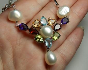 Stunning 925 Sterling Multi Gemstone Pearl Necklace - High End Gemstone Pearl Necklace - Citrine, Garnet, Blue Topaz, Peridot, Amethyst