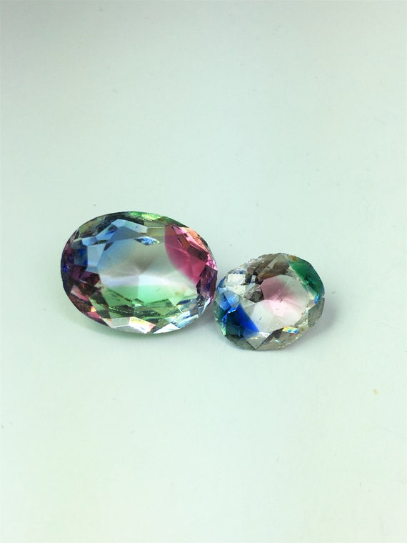 Lot of 2 Vintage Art Deco Iris Glass Loose Stones,