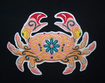 99a90ae41 Flower Power Crab iron on patch, crab sew on patch, crab motif, crab  applique, embroidered patch, Sea Creature Patch, fabric patch, applique