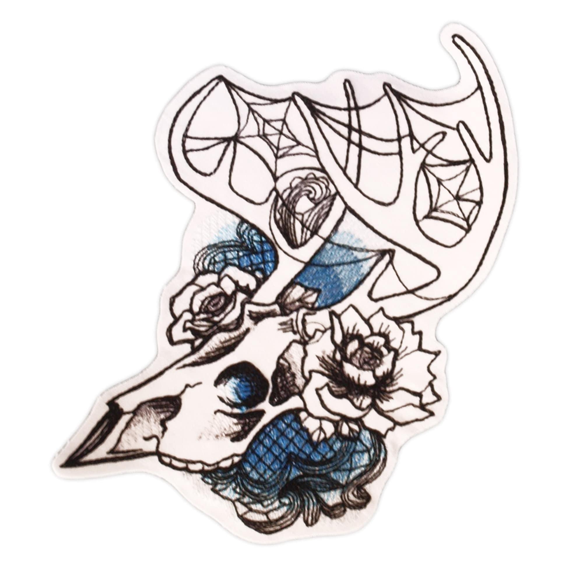 Skull sew on patch Deer Phantasm patch Deer iron on patch Skull adhesive Gothic Deer patch Deer patch Deer sew on Deer skull Patch