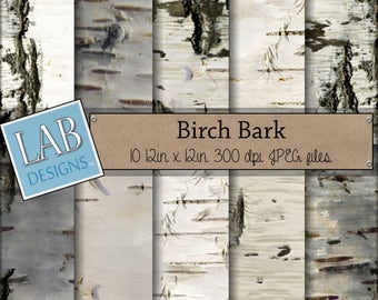 Birch Digital Paper - White Tree Bark - Digital Paper - Instant Download Seamless Natural Printable Background for Personal Use