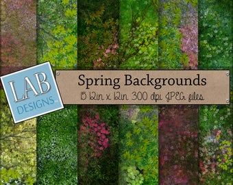 Spring Digital Paper - Grass and Floral - Digital Paper - Instant Download Seamless Nature Theme Printable Background for Personal Use