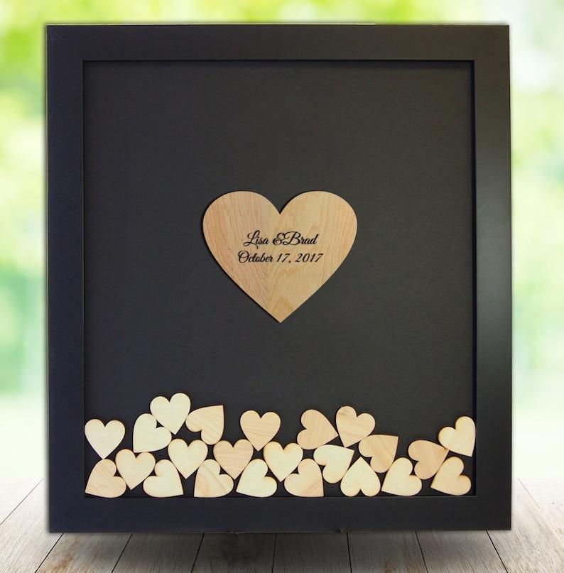 Wedding Guest Book Alternative Drop Top Heart Frame Framed Wedding Guestbook Personalized Drop Box Wooden Heart Guestbook Custom
