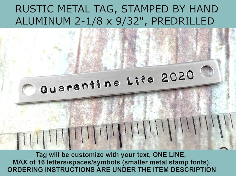 Rustic Custom Text Aluminum Tag 10th Anniversary Aluminum Gift Tag Hand Stamped Personalized Custom Message Metal Plate Picture Frame Tag