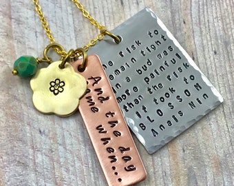 Mixed Metals Necklace, Anais Nin Blossom Quote Necklace, Hand Stamped Pendant, Custom Quote Pendant, Inspirational Quote Necklace, Boho