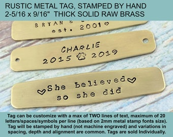 Rustic Metal Tag, Hand Stamped Personalized Brass Tag, Pet Memorial Metal Plate, Guest Book Tag, Picture Frame Plate, Custom Text Metal Tag