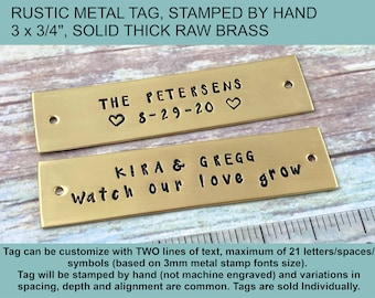Rustic BRASS tag, Personalized Hand Stamped Metal Tag, Couple Names Metal Tag, Wedding Metal Plate, Anniversary Tag, Pet Cremation Box Tag