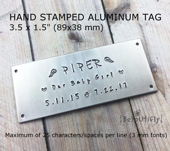 Hand Stamped Metal Tag Personalized Pet Cremation Box Plate