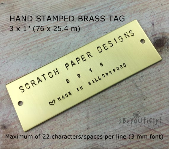Rustic Metal Signage Personalized Hand Stamped Tag