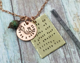 Mermaid Necklace, I must be a Mermaid Quote Necklace, Mermaid Pendant, Anais Nin Mermaid Quote Pendant, Hand Stamped Mixed Metals Necklace