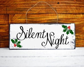 Holy Night, Silent Night Christmas wood sign, Christmas decor, Christmas decoration, Holiday decor, Christmas signs, Christmas gift