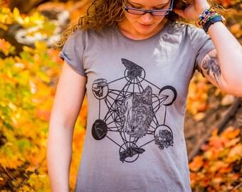 Sacred Geometry Cosmic Wolf Printed Organic Cotton Dress