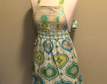 New Green, Yellow and Blue Ruffled Full Apron