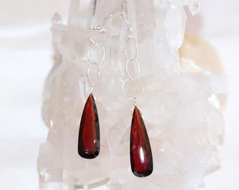 Garnet Sterling Silver Earrings, Garnet Teardrop Earrings, Garnet Gemstone Earrings, Gift
