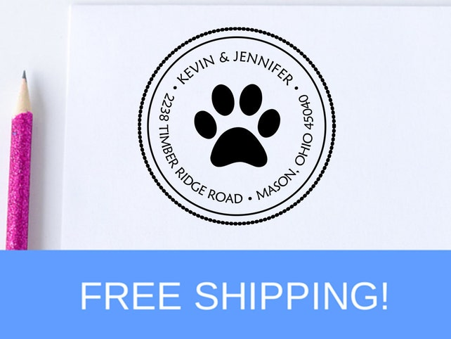 Paw Print Return Address Stamp - Self Inking Address Stamp - Address Stamp (D101)