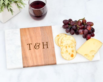 Cheese Board, Personalized Marble Wood Cutting Board, Anniversary Gift, Wedding Gift, Housewarming Gift, Serving Board, Charcuterie Board