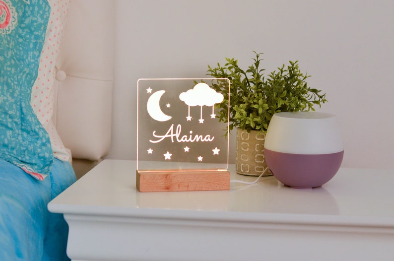 Moon and Stars Night Light Night Light Kids Bedroom Nursery image 0