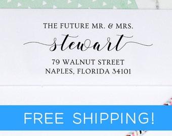 Custom Address Stamp - Self Ink Return Address Stamp - Wedding Stamp - Save The Date - Future Mr. & Mrs. Stamp  (D373)