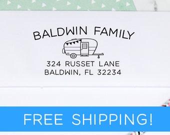 Camper Return Address Stamp - Custom Address Stamp - Self Inking Address Stamp - Christmas Gift - Housewarming Gift  (D378)