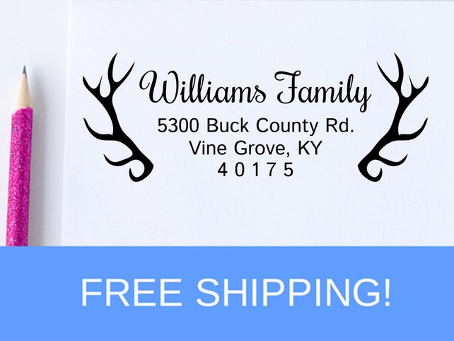 Return Address Stamp -  Address Stamp - Antler Self Inking Address Stamp (D100)